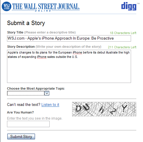 WSJ Digg Submit